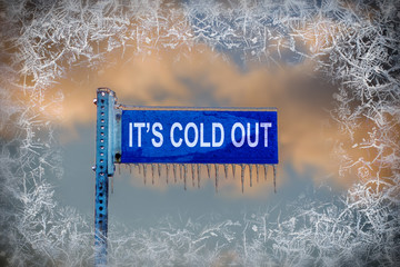 Street Sign with Icicles - It's Cold Out!
