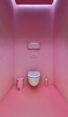 Public toilet in a modern loft style. Minimalism, toilet, brush,