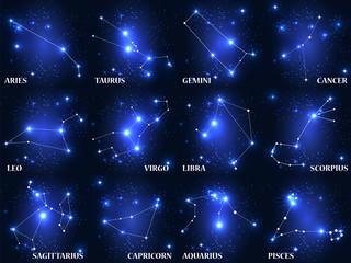 Set of Symbol Zodiac Sign. Vector Illustration.