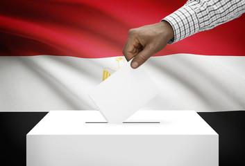 Ballot box with national flag on background - Egypt