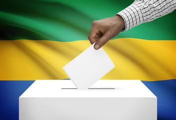 Ballot box with national flag on background - Gabon
