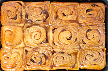 Homemade sticky cinnamon buns closeups