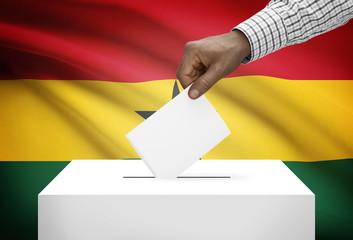 Ballot box with national flag on background - Ghana