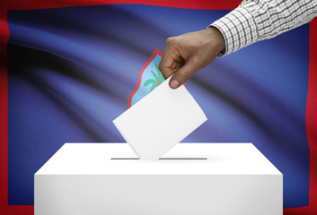 Ballot box with national flag on background - Guam