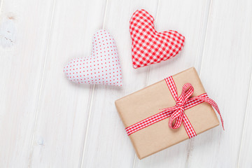 Valentines day toy hearts and gift box