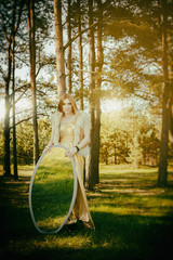concept wonderful fairy tale with beautiful girl in country of m