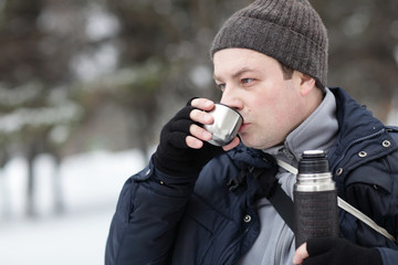 Man has hot tea