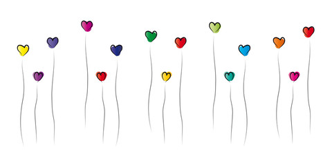 Bunte Herzblumen