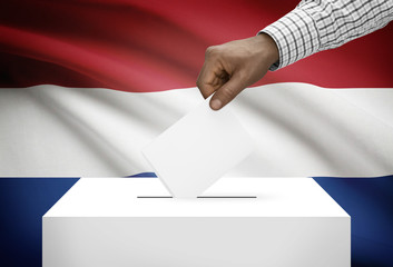 Ballot box with national flag on background - Netherlands