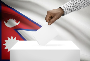 Ballot box with national flag on background - Nepal