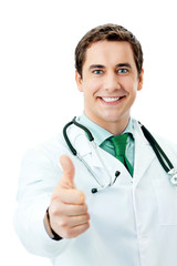 Cheerful doctor with thumbs up gesture, over white