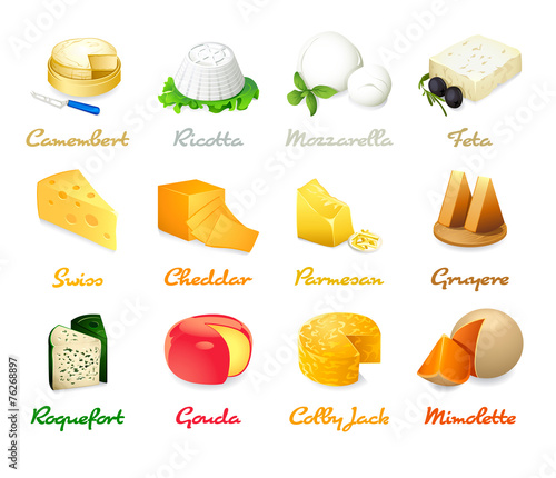Most popular kind of cheese icons isolated - 76268897