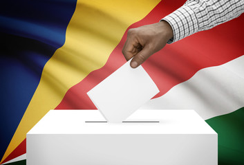 Ballot box with national flag on background - Seychelles
