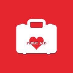 First aid box with heart inside icon isolated on red background