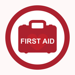 First aid box with heart isolated icon