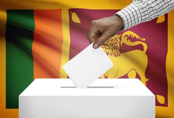 Ballot box with national flag on background - Sri Lanka