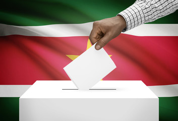 Ballot box with national flag - Republic of Suriname