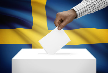 Ballot box with national flag on background - Kingdom of Sweden