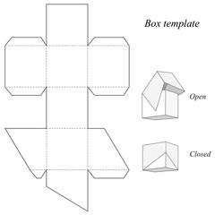 Square box template with lid
