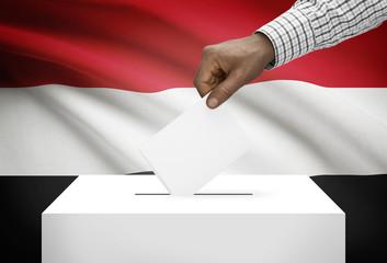 Ballot box with national flag on background - Yemen
