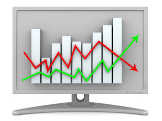 Монитор с изображением диаграммы