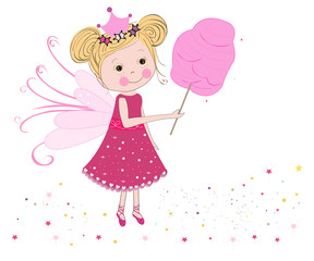 Cute fairytale with cotton candy vector