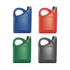 Set of Blank Plastic Jerrycan Canister Gallon Oil