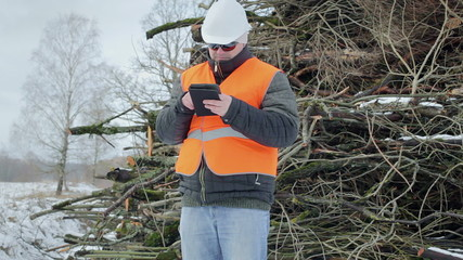 Forest engineer with tablet PC near road