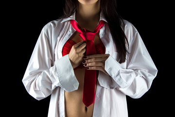 Photo of young woman with red tie