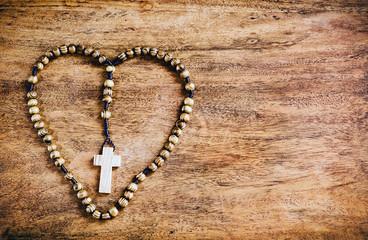 Simple Cross Inside Heart Shape - Rustic