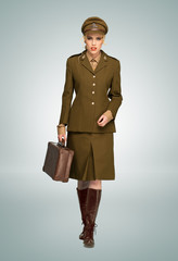Glamorous woman in military uniform