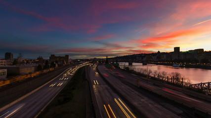 Time Lapse of Freeway Traffic with Portland Oregon Skyline