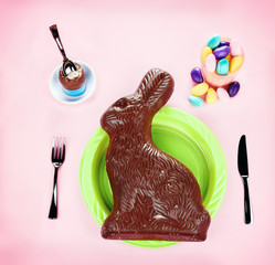 Giant Chocolate Bunny Concept - on Pink