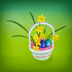 Daffodil & Easter Eggs in Basket - Vibrant