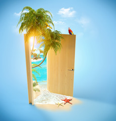 Tropical paradise door