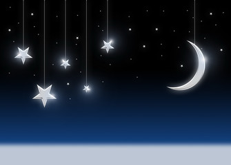 Night sky with moon and stars - image