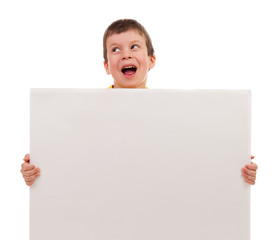 boy with blank paper sheet
