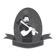 stylish logo lumberjack with an ax