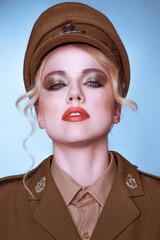 Sensual portrait of an elegant army recruit
