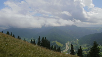 The movement of clouds high in the Carpathian Mountains