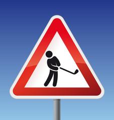 Schild Achtung Golfer
