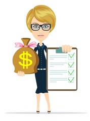 Business woman Holding a Paper With Green Flags and the Bag of