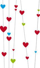 Bunte Herzen an Linie 1, Vektor