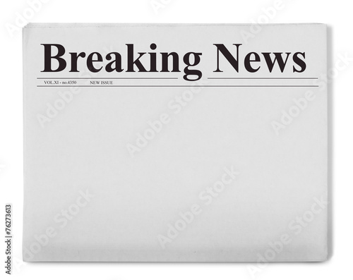 canvas print picture Breaking news title on newspaper
