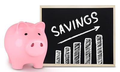 Piggy bank and savings chart