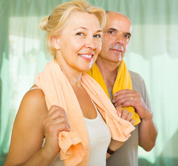 Elderly couple after training