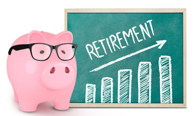 Piggy bank and retirement graphic
