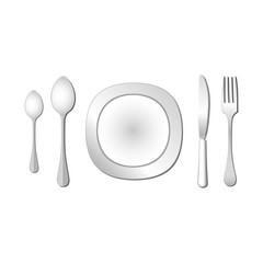 Dish, spoon fork and knife