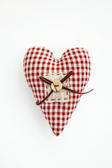 Fabric heart  over white background.