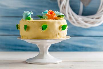 Beautiful cake with marzipan roses